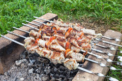 Shish kebab on the oven made of brick Stock Photos