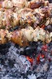 Shish Kebab over an ember. Shish Kebab cooking over an ember Stock Image