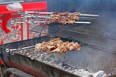 Shish kebab på grilla Fotografering för Bildbyråer