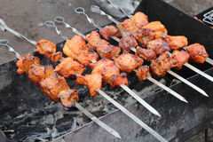 Shish kebab at a picnic Stock Photo