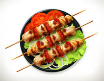 Shish kebab on a plate. Vector icon,   on white background Stock Photo