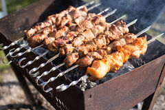 Shish kebab of the pork and chiken Royalty Free Stock Image