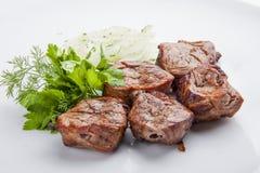 Shish kebab from pork tenderloin with onion royalty free stock photography