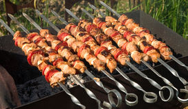 Shish kebab from pork with tomatoes royalty free stock photography