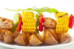Shish kebab and potato wedges Stock Photo