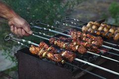 Shish kebab in process of cooking Royalty Free Stock Photo