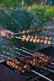 Shish kebab in process of cooking Stock Images