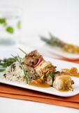 Shish kebab and rice Royalty Free Stock Photography