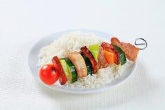 Shish kebab with rice Royalty Free Stock Image