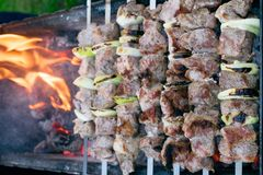 Shish kebab roasting on the grill. BBQ party. Close-up. Barbecue with onion. Barbucue season Stock Photo