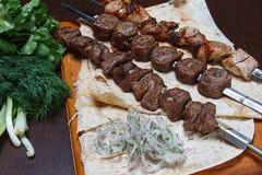 Shish kebab and salad. Royalty Free Stock Photography