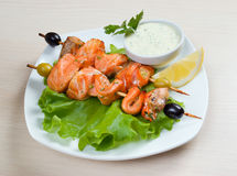 Shish Kebab from  Salmon Royalty Free Stock Photos