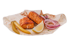 Shish kebab from a salmon. On white background Stock Photography