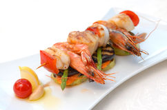 Shish kebab from seafood Stock Photo