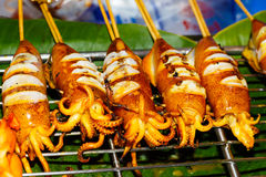 Shish kebab from seafood in the market Stock Photography