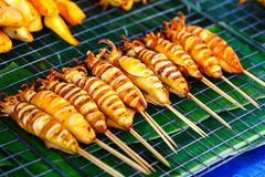 Shish kebab from seafood in the market Royalty Free Stock Photography