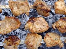 Shish kebab on skewer. Shashlik above coals are prepared to the golden crust Stock Image