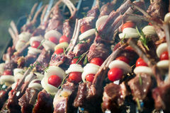 Shish kebab on skewers. Outdoor Royalty Free Stock Photos