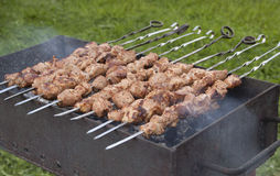 Shish kebab on skewers in the process of cooking over the coals Royalty Free Stock Photo