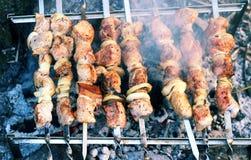 Shish kebab on skewers. Shish kebab on smoking coals Royalty Free Stock Photos