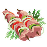 Shish kebab on a stick with vegetables and herbs Royalty Free Stock Photos