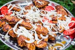 Shish kebab with tomatoes Royalty Free Stock Images
