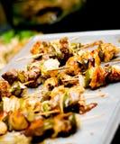 Shish Kebab Tray. Veggies and Meat royalty free stock photos