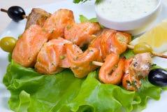 Shish Kebab van Zalm .fish roast.close-omhoog royalty-vrije stock foto