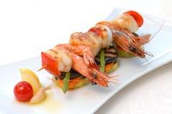 Shish kebab van zeevruchten Stock Foto