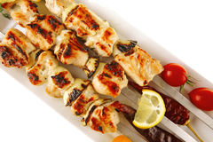 Shish kebab with vegetables Stock Images