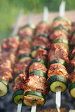 Shish kebab with vegs and mix of spices on bbq Stock Photos