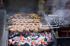 The shish kebab which is fried on coals Royalty Free Stock Images