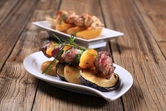 Shish Kebab With Roasted Potato And Eggplant Royalty Free Stock Photography