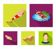 Shish kebab z warzywami ketchup i musztarda przyprawia dla jedzenia, łamający jajko Jedzenia i kucharstwa ustalone inkasowe ikony ilustracji