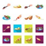 Shish kebab z warzywami ketchup i musztarda przyprawia dla jedzenia, łamający jajko Jedzenia i kucharstwa ustalone inkasowe ikony ilustracja wektor