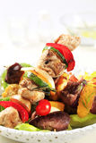 Shish kebabs. Various types of shish kebabs on lettuce leaves Stock Photography