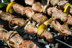 Shish kebabs. Outdoors cooking of shish kebabs in skewers and barbecue Stock Photos