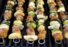 Shish Kebabs on the Grill Royalty Free Stock Photos