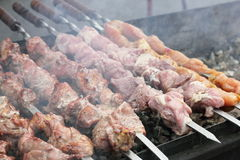 Shish kebabs on skewers. Close-up Royalty Free Stock Image