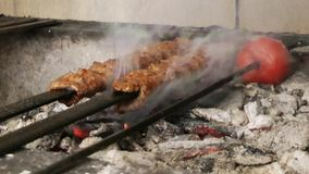 Shish Kebap Traditional Turkish Food on Barbecue Fire. Video stock footage