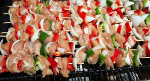 Shish kebobs grilling outdoors Stock Image