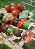 Shish recientemente asado a la parilla Kebabs. Cacerola de la parrilla imágenes de archivo libres de regalías