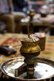Shisha in Istanbul. Shisha smoking in Istanbul. Turkish style of sisha prepairings Royalty Free Stock Image