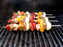 Shishkabob. S on the grill royalty free stock images