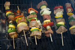 Shishkabobs. Several Shishkabobs lined up  cooking on a grill Stock Images