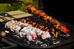 Shishkebab. Is grilled in summer during the picnic Royalty Free Stock Images