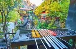 Shishlik and kebab on mangal grill, Darband, Tehran, Iran