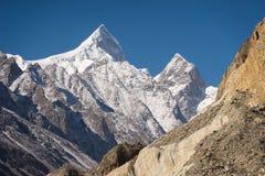 Shispare mountain peak in Karakoram range, Passu, Gilgit Baltist stock photography