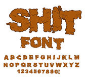 Shit font. Letters from poop. Alphabet shit. Lettering and typog Royalty Free Stock Image