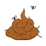 Shit poop cartoon illustration. Total bullshit graphical image. Stinky with flies flying around. Additional AI vector format is available Stock Photography
